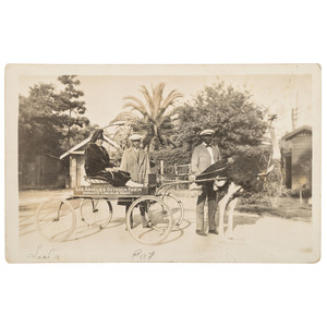 Rare Los Angeles Ostrich Farm Real Photo Postcard with African American Tourists, ca 1927