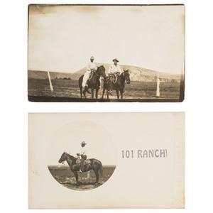 Black Cowboy Bill Pickett, Real Photo Postcards, ca 1905