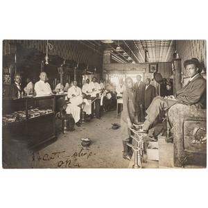 Rare Black Barbershop Real Photo Postcard, J J Cotta Shop, Okla., ca 1910
