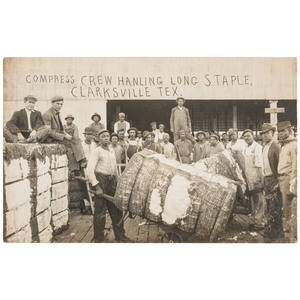 Cotton Workers Real Photo Postcard, Clarksville, Texas, ca 1910