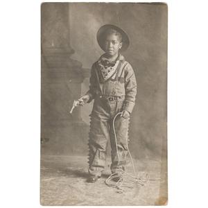 Black Boy in Cowboy Costume Real Photo Postcard, La Grande, Oregon, 1912