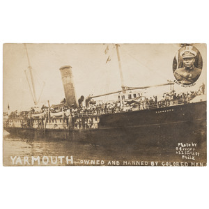 Marcus Garvey Flagship Yarmouth - Owned and Manned by Colored Men Real Photo Postcard, ca 1920