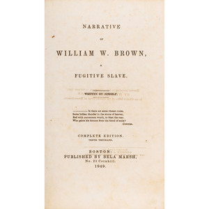 William W. Brown Slave Narrative, 1849