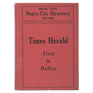 Rare Dallas, Texas Negro City Directory, 1947