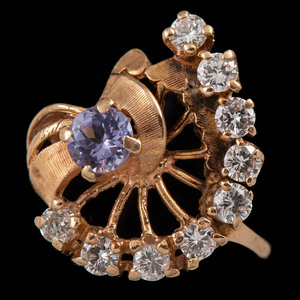 14k Gold Diamond and Tanzanite Ring