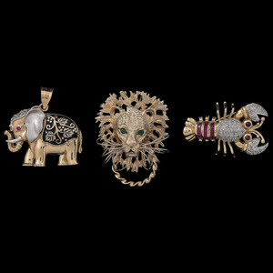 14k Gold Lion, Elephant, and Lobster Pendants