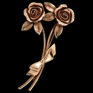 Tiffany & Co. 14k Bicolor Gold Rose Brooch