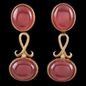 H. Stern 18k Gold Rhodochrosite Earrings