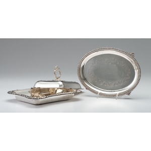 Sheffield Plate Salver and Serving Dish