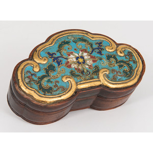 Chinese Wooden Box with Cloisonne Lid