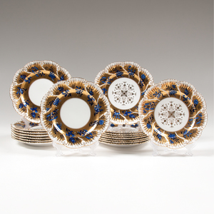 Coalport Gilt Plates with Cobalt Flowers