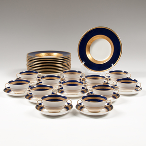English Gilt Cobalt Porcelain