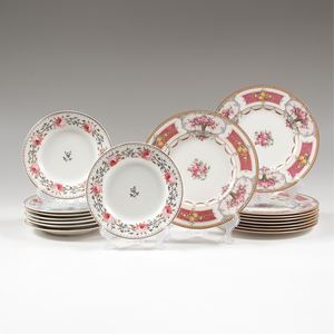 English Rose-Decorated Porcelain Plates, Including Royal Crown Derby and Royal Worcester