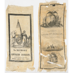 Pair of Andrew Jackson Memorial Ribbons, 1845