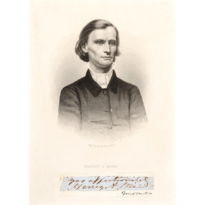 Henry A. Wise, Gov. of Virginia, 1856, Clipped Signature with Matted Portrait