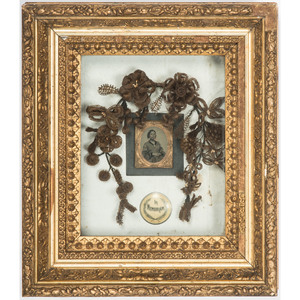Victorian Mourning Hair Wreath with Ambrotype
