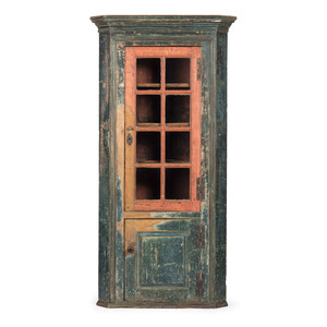 A New England Federal Molded and Painted Cherrywood Corner Cupboard