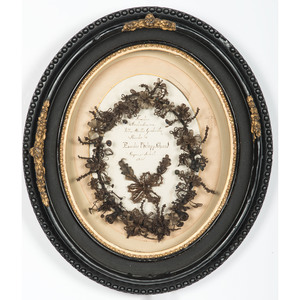 1865 Mourning Hair Wreath in Oval Shadow Box