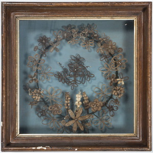Victorian Mourning Hair Wreath in Shadow Box
