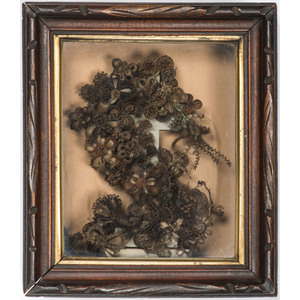 Victorian Mourning Hair Wreath with Cross in Shadow Box