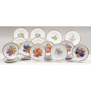 Gold-Rimmed Fruit and Flower Porcelain Plates