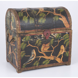 Paint-Decorated Domed Bottle Chest