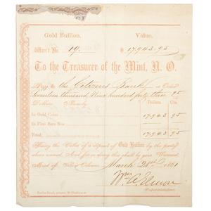 CSA Warrant of Payment of Gold Bullion, Louisiana, 1861