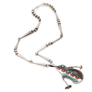 Preston Monongye (Hopi, 1927-1987) Silver Inlaid Bear Necklace