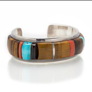Richard Chavez (San Felipe, b. 1949) Silver Mosaic Inlay Cuff Bracelet