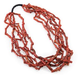 Pueblo Six-Strand Branch Coral Necklace
