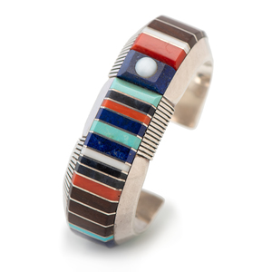 Gibson Nez (Dine, 1947-2007) Sterling Silver Channel Inlay Cuff Bracelet