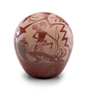 Joseph Lonewolf (Santa Clara, 1932-2014) Sgraffito Redware Pottery Seed Jar