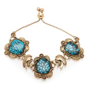 Andy Lee Kirk (Dine/Isleta, 1947-2001) 14k Gold Link Bracelet, with Turquoise