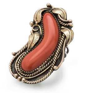 Andy Lee Kirk (Dine/Isleta, 1947-2001) Coral and Silver Ring, with 14k Gold Accents