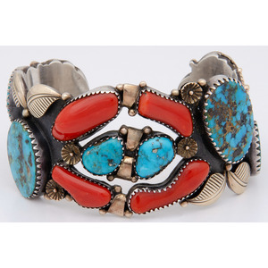Navajo Silver, Turquoise and Coral Cuff Bracelet, with Gold Accents