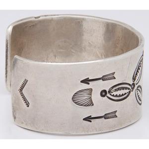 Navajo Stamped Silver Cuff Bracelet
