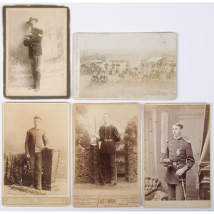 Fort Riley, 6th Cavalry, Troop C Cabinet Card, Plus 4 Photographs of Frontier Soldiers