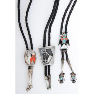Navajo and Zuni Silver Bolo Ties