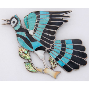 Eddie Beyuka (Zuni, 1920-2002) Channel Inlay Blue Bird Brooch