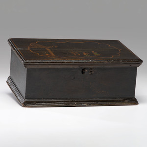 A Georgian Japanned Pine Bible Box