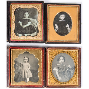 Fine Collection of Thirteen Sixth Plate Daguerreotypes and Ambrotypes of Young Girls