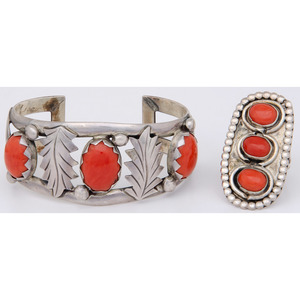 Southwestern Silver and Coral Ring AND Cuff Bracelet