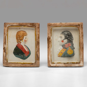 A Pair of Chalkware Portraits of George and Martha Washington