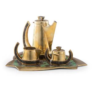 Salvador Teran (Mexican, b. ca 1920-1974) Brass Coffee Service with Glass Mosaic Inlay