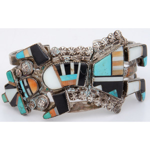 Zuni Rainbowman Mosaic Inlay and Silver Cuff Bracelet