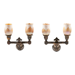 Pair Bronze Wall Sconces with Pulled Feather Quezal Shades