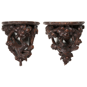 Black Forest Carved Bracket Shelves