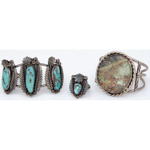 Navajo Silver and Turquoise Ring and Cuff Bracelet Set PLUS