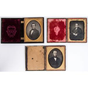Trio of Half Plate Daguerreotypes of Distinguished Gentlemen