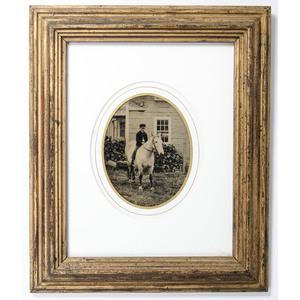 Framed Quarter Plate Tintype of a Boy Riding a Horse